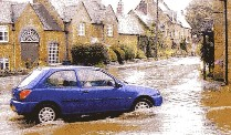 Floods in Chapel Brampton following the lunchtime downpours on the 23rd.