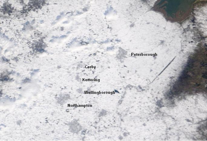 High resolution satellite image showing a complete white-out across Northamptonshire on 7th February. Click here to enlarge image.